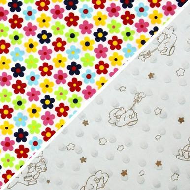 kolorowe kwiaty / biały bąbelki